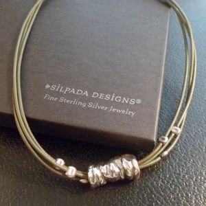 Silpada Sterling Silver and Green Leather Necklace